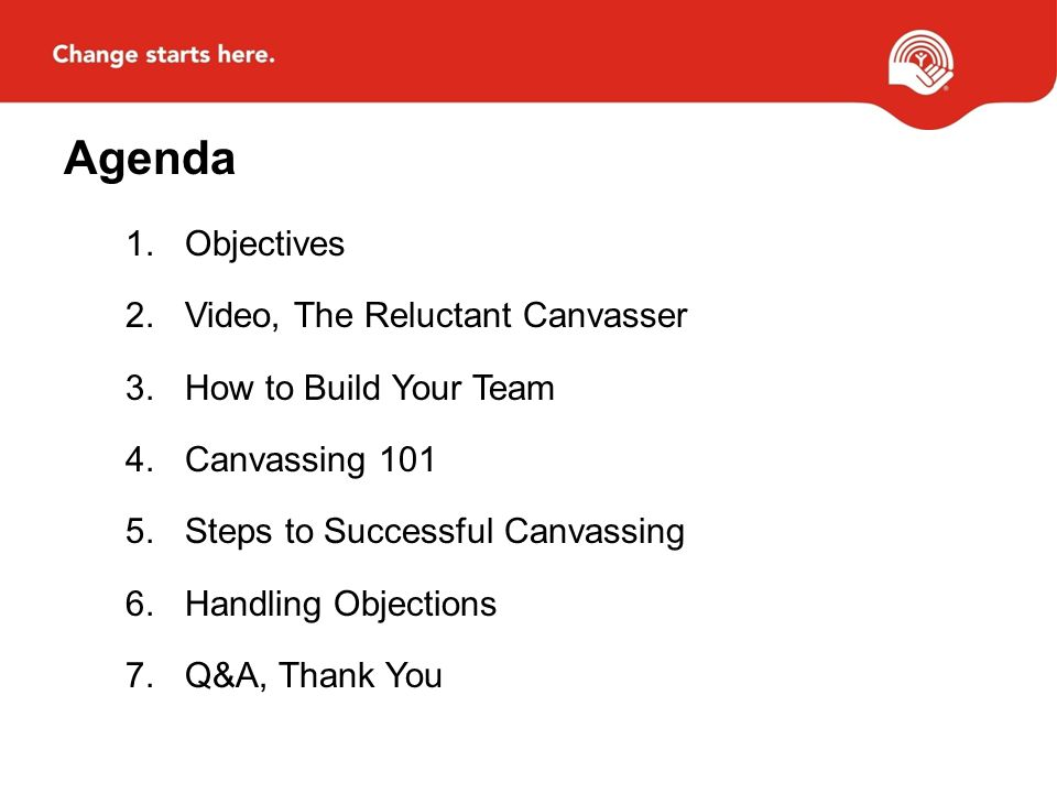 Agenda 1.Objectives 2.Video, The Reluctant Canvasser 3.How to Build Your Team 4.Canvassing 101 5.Steps to Successful Canvassing 6.Handling Objections 7.Q&A, Thank You