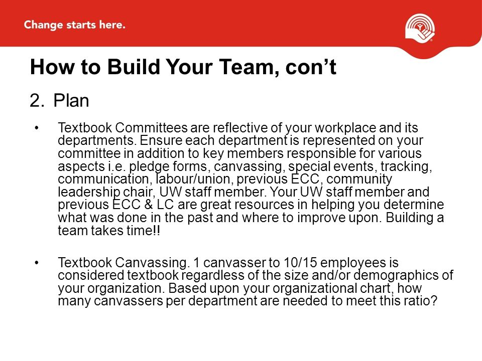 How to Build Your Team, cont 2.Plan Textbook Committees are reflective of your workplace and its departments.