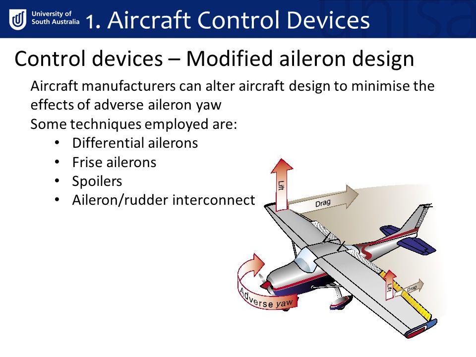 Control devices – Modified aileron design Aircraft manufacturers can alter aircraft design to minimise the effects of adverse aileron yaw Some techniq