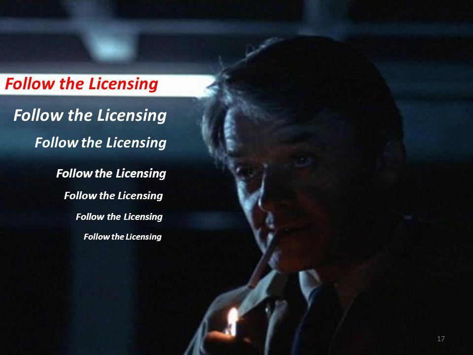 Follow the Licensing 17 Follow the Licensing Follow the Licensing Follow the Licensing Follow the Licensing Follow the Licensing Follow the Licensing