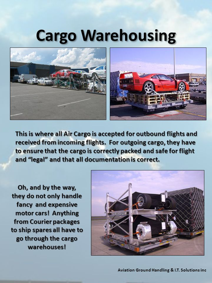 Cargo Warehousing Aviation Ground Handling & I.T. Solutions inc This is where all Air Cargo is accepted for outbound flights and received from incomin