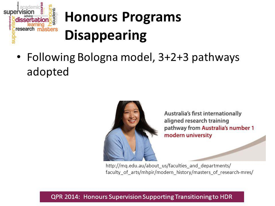 Honours Programs Disappearing Following Bologna model, 3+2+3 pathways adopted QPR 2014: Honours Supervision Supporting Transitioning to HDR http://mq.edu.au/about_us/faculties_and_departments/ faculty_of_arts/mhpir/modern_history/masters_of_research-mres/