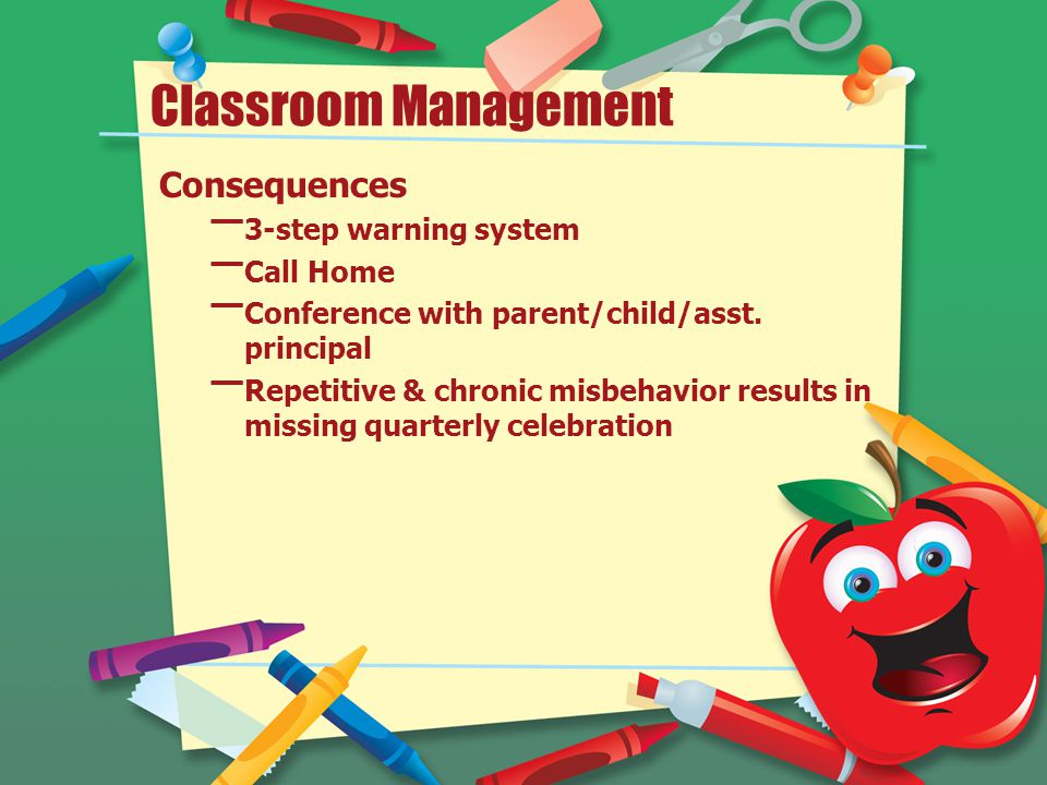 Classroom Management Consequences – 3-step warning system – Call Home – Conference with parent/child/asst. principal – Repetitive & chronic misbehavio
