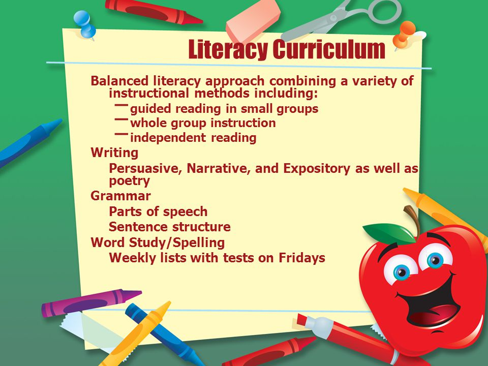 Literacy Curriculum Balanced literacy approach combining a variety of instructional methods including: – guided reading in small groups – whole group