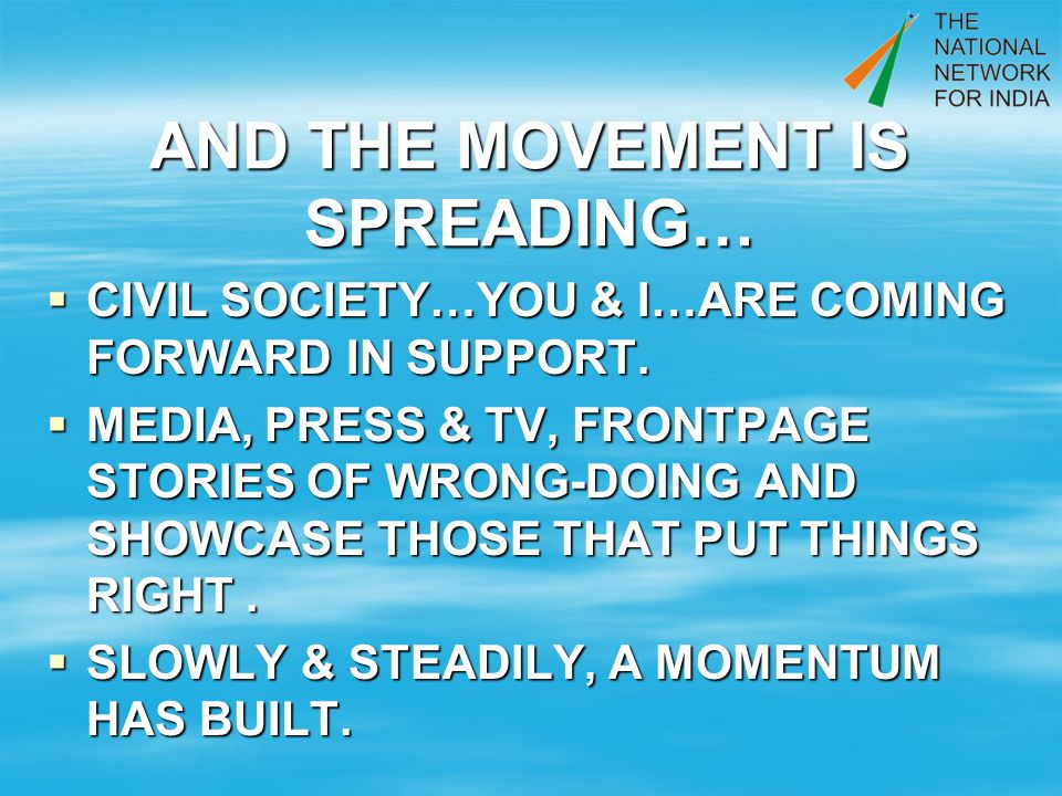 AND THE MOVEMENT IS SPREADING… CIVIL SOCIETY…YOU & I…ARE COMING FORWARD IN SUPPORT.