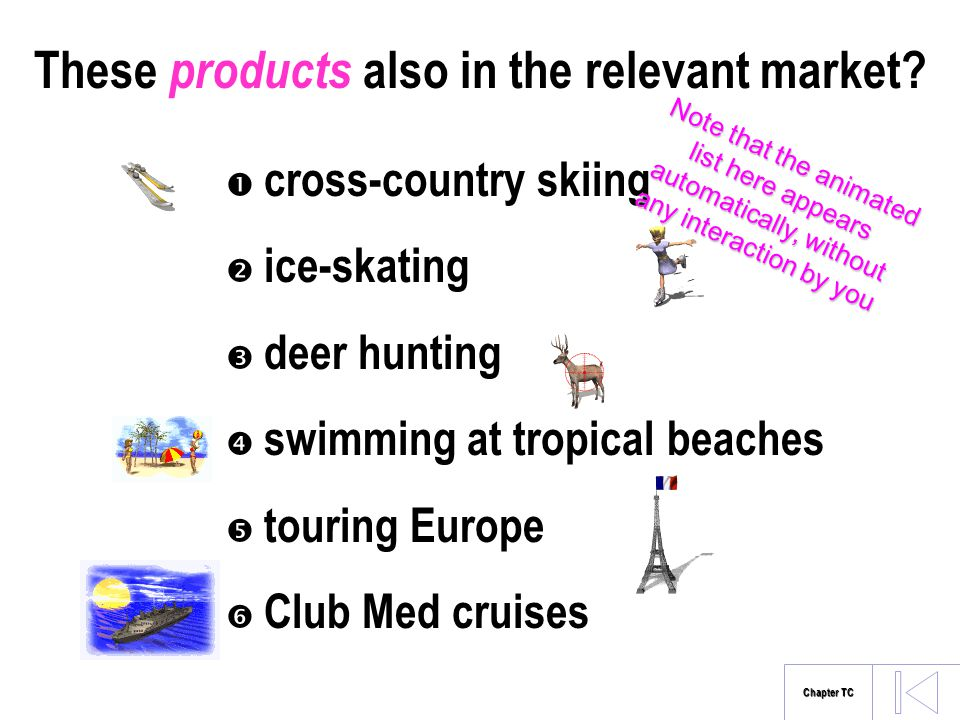 These products also in the relevant market? cross-country skiing ice-skating deer hunting swimming at tropical beaches touring Europe Club Med cruises