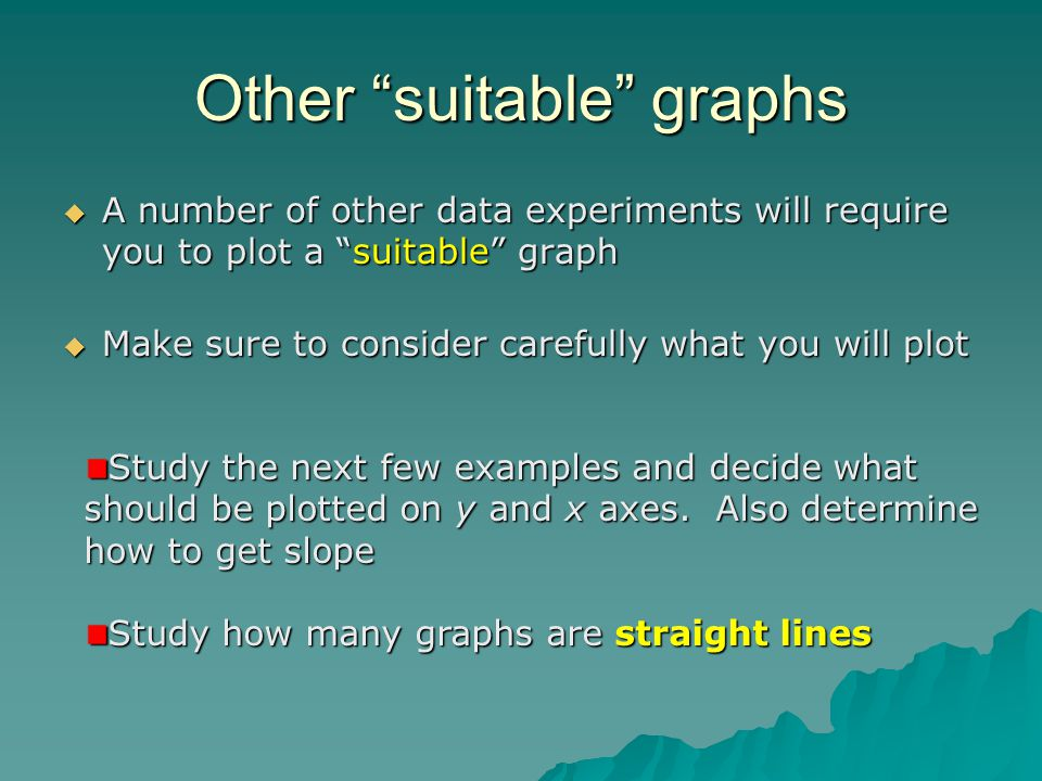 Other suitable graphs A number of other data experiments will require you to plot a suitable graph A number of other data experiments will require you