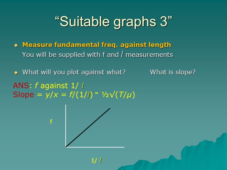 Suitable graphs 3 Measure fundamental freq. against length You will be supplied with f and l measurements Measure fundamental freq. against length You