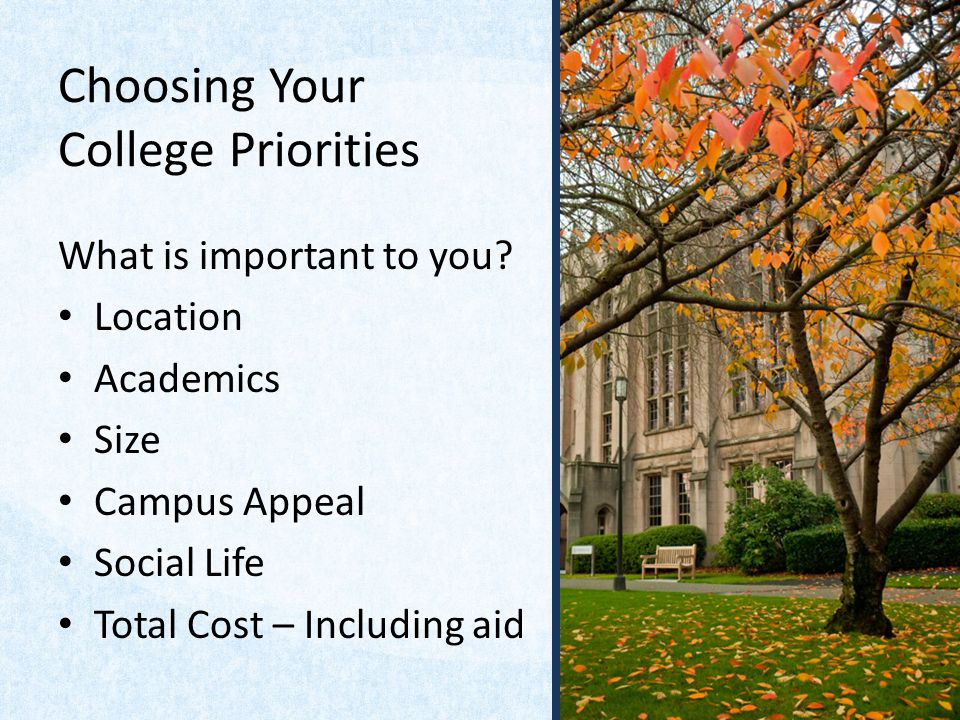 Choosing Your College Priorities What is important to you? Location Academics Size Campus Appeal Social Life Total Cost – Including aid
