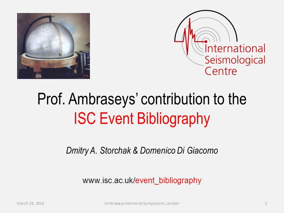 Summary The ISC Event Bibliography allows an interactive search for seismic event oriented articles based on event and/or publication parameters.
