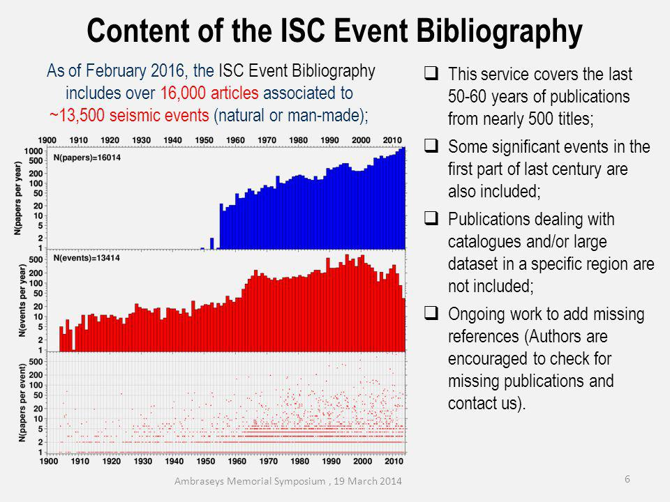 7 Ambraseys Memorial Symposium, 19 March 2014 The ISC Event Bibliography is not limited to publications in Seismology.