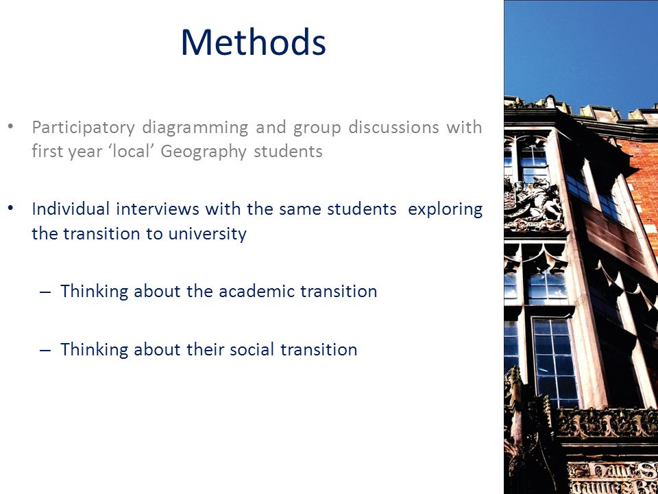 Methods Participatory diagramming and group discussions with first year local Geography students Individual interviews with the same students exploring the transition to university – Thinking about the academic transition – Thinking about their social transition