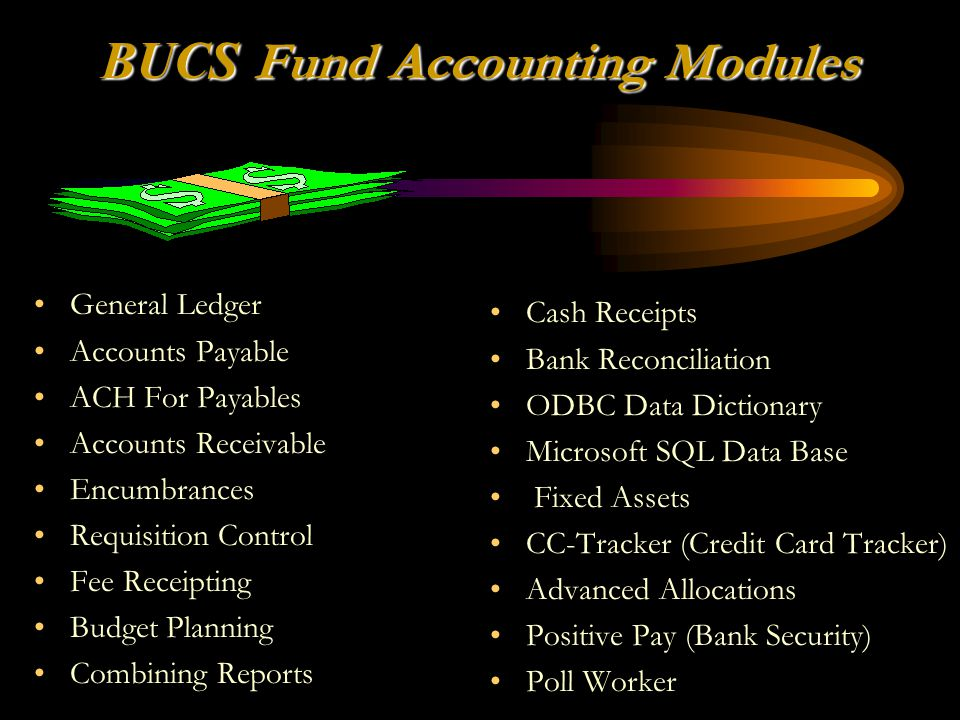 BUCS Fund Accounting Modules Cash Receipts Bank Reconciliation ODBC Data Dictionary Microsoft SQL Data Base Fixed Assets CC-Tracker (Credit Card Track