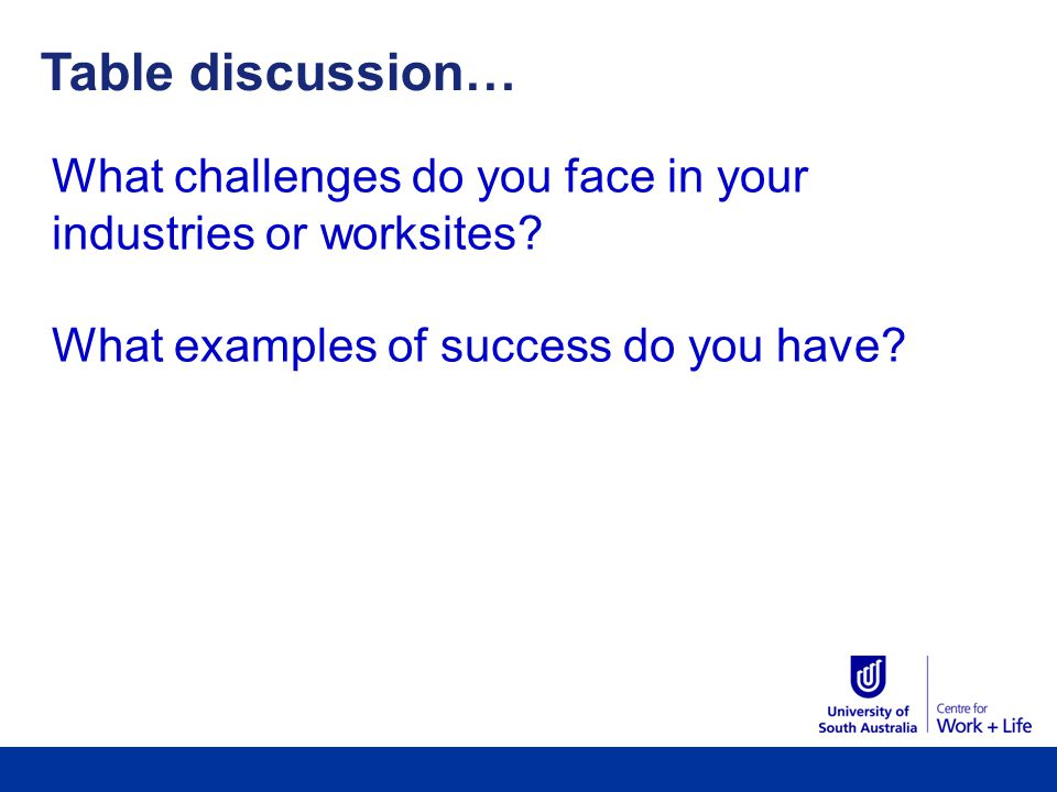 Table discussion… What challenges do you face in your industries or worksites.