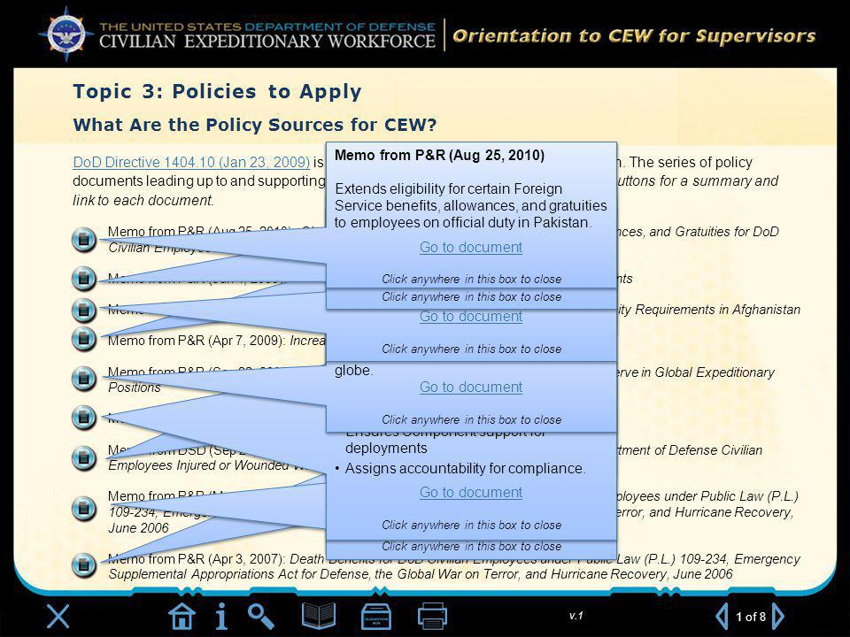 v.1 What Are the Policy Sources for CEW.