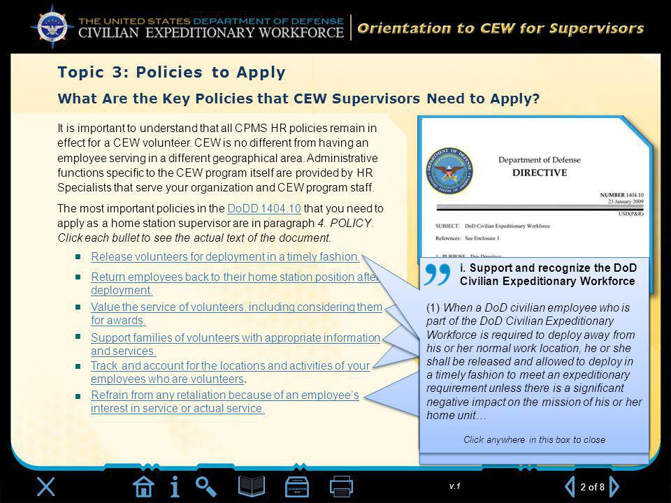 v.1 What Are the Key Policies that CEW Supervisors Need to Apply.