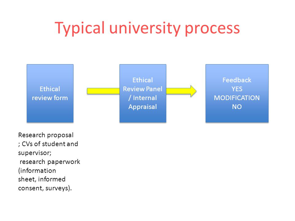 Typical university process Ethical review form Ethical Review Panel / Internal Appraisal Ethical Review Panel / Internal Appraisal Feedback YES MODIFICATION NO Feedback YES MODIFICATION NO Research proposal ; CVs of student and supervisor; research paperwork (information sheet, informed consent, surveys).