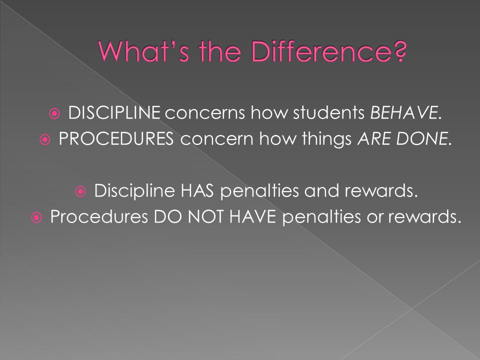 DISCIPLINE concerns how students BEHAVE.PROCEDURES concern how things ARE DONE.