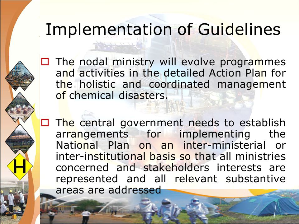 Implementation of Guidelines Preparation of the Action Plan Implementation and Coordination at the National Level Institutional Mechanisms and Coordination at State and District Levels District Level to Community Level Preparedness Plan Appropriate Linkages with State Support Systems