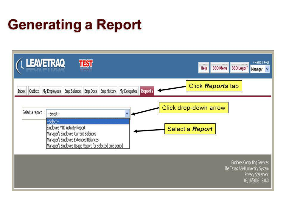 Click Reports tab Click drop-down arrow Select a Report Generating a Report