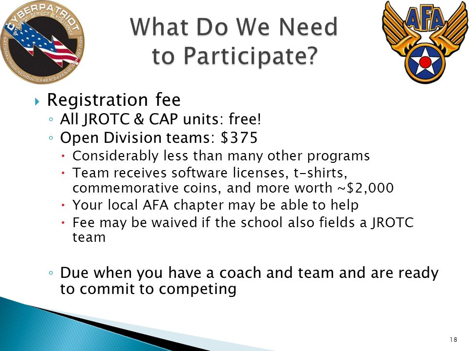 Registration fee All JROTC & CAP units: free.