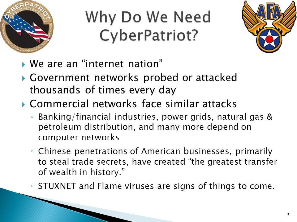 5 We are an internet nation Government networks probed or attacked thousands of times every day Commercial networks face similar attacks Banking/finan