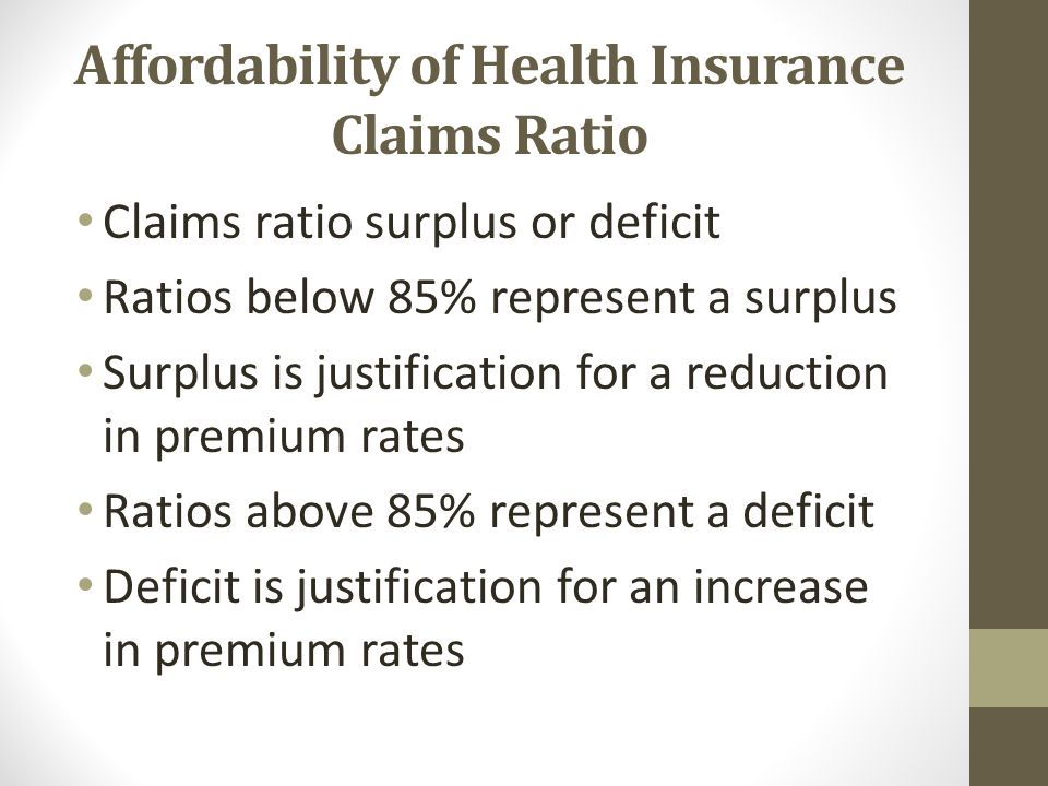 Affordability of Health Insurance Claims Ratio Claims ratio surplus or deficit Ratios below 85% represent a surplus Surplus is justification for a reduction in premium rates Ratios above 85% represent a deficit Deficit is justification for an increase in premium rates