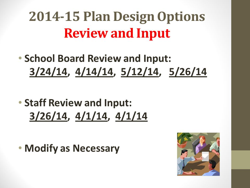 2014-15 Plan Design Options Review and Input School Board Review and Input: 3/24/14, 4/14/14, 5/12/14, 5/26/14 Staff Review and Input: 3/26/14, 4/1/14, 4/1/14 Modify as Necessary