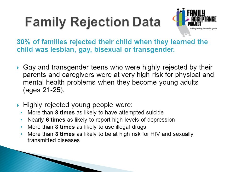 30% of families rejected their child when they learned the child was lesbian, gay, bisexual or transgender. Gay and transgender teens who were highly