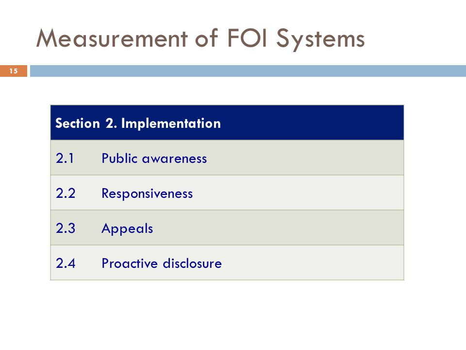 Measurement of FOI Systems Section 2.