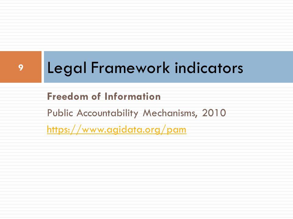 Freedom of Information Public Accountability Mechanisms, 2010 https://www.agidata.org/pam Legal Framework indicators 9