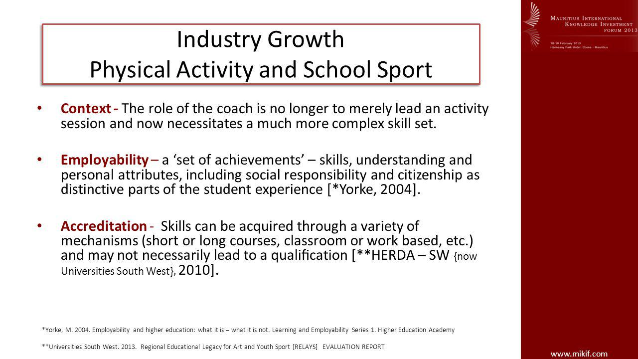 www.mikif.com Industry Growth Physical Activity and School Sport Context - The role of the coach is no longer to merely lead an activity session and now necessitates a much more complex skill set.