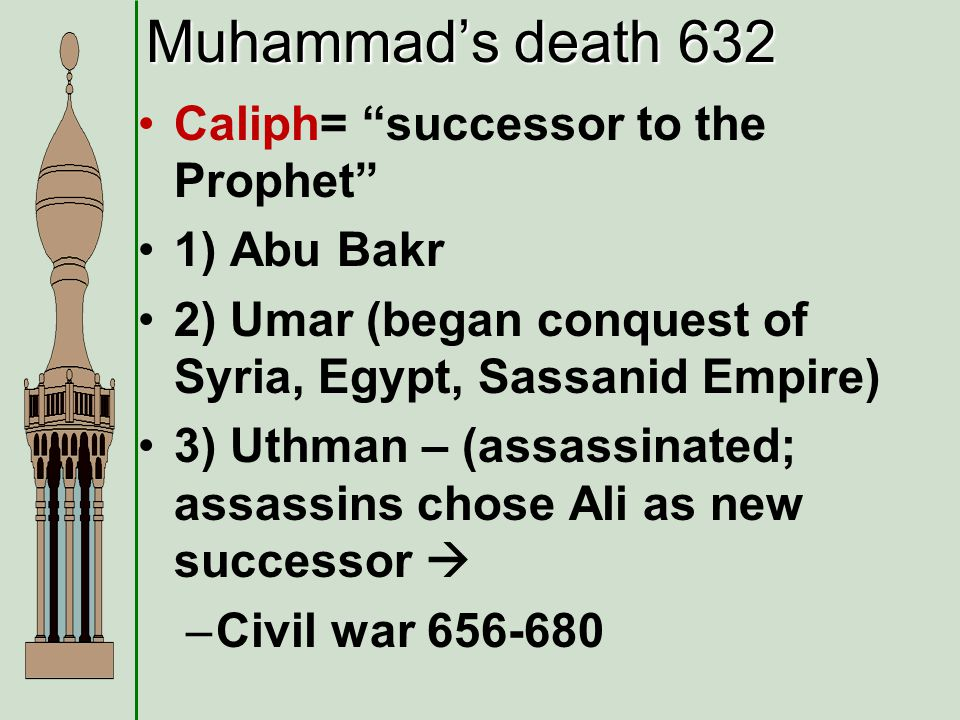 Muhammads death 632 Caliph= successor to the Prophet 1) Abu Bakr 2) Umar (began conquest of Syria, Egypt, Sassanid Empire) 3) Uthman – (assassinated;