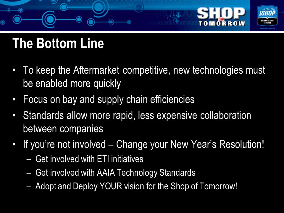 z The Bottom Line To keep the Aftermarket competitive, new technologies must be enabled more quickly Focus on bay and supply chain efficiencies Standards allow more rapid, less expensive collaboration between companies If youre not involved – Change your New Years Resolution.