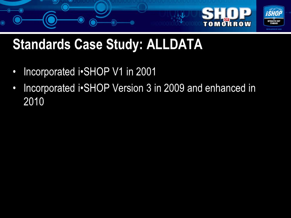 z Standards Case Study: ALLDATA Incorporated iSHOP V1 in 2001 Incorporated iSHOP Version 3 in 2009 and enhanced in 2010