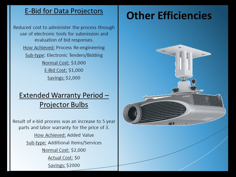 Other Efficiencies E-Bid for Data Projectors Reduced cost to administer the process through use of electronic tools for submission and evaluation of b