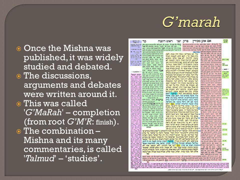 Once the Mishna was published, it was widely studied and debated. The discussions, arguments and debates were written around it. This was called 'GMaR