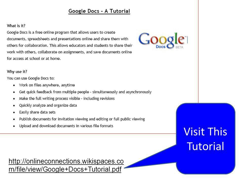 Visit This Tutorial http://onlineconnections.wikispaces.co m/file/view/Google+Docs+Tutorial.pdf