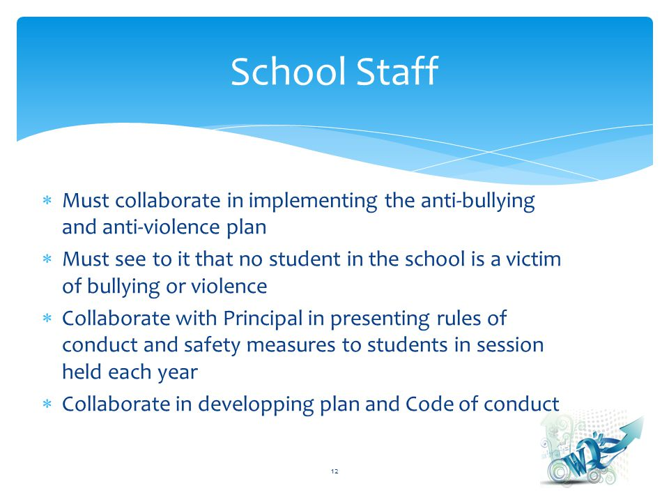 Must collaborate in implementing the anti-bullying and anti-violence plan Must see to it that no student in the school is a victim of bullying or violence Collaborate with Principal in presenting rules of conduct and safety measures to students in session held each year Collaborate in developping plan and Code of conduct 12 School Staff