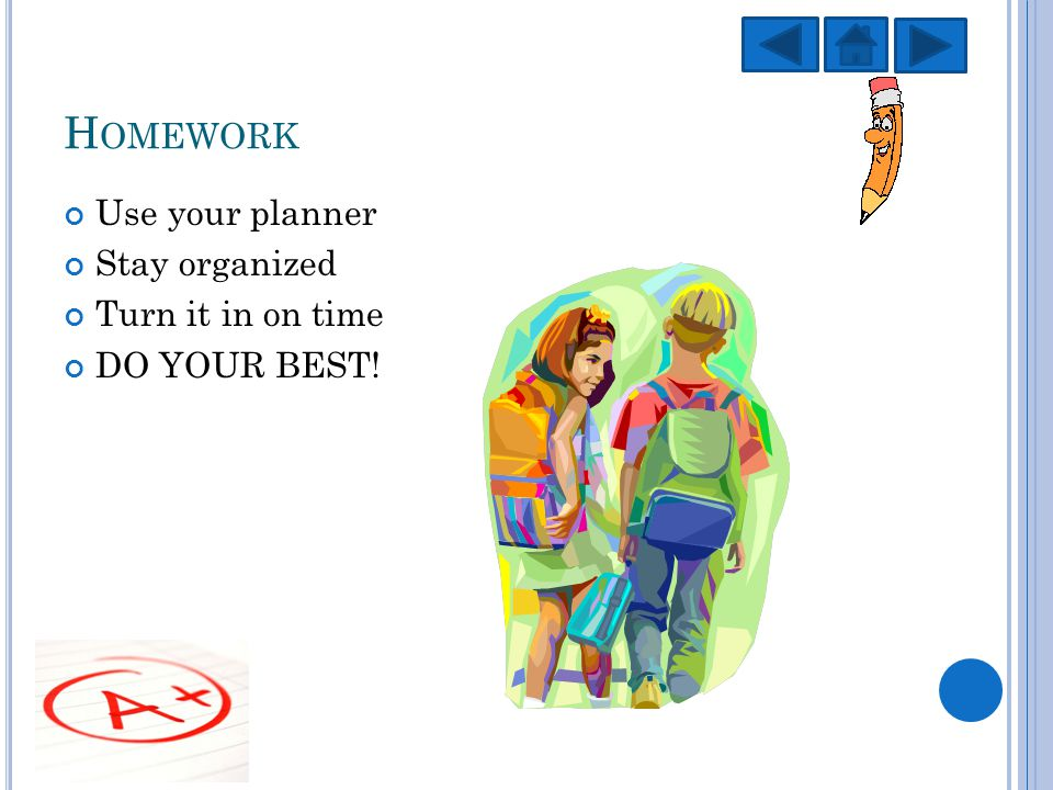 H OMEWORK Use your planner Stay organized Turn it in on time DO YOUR BEST!