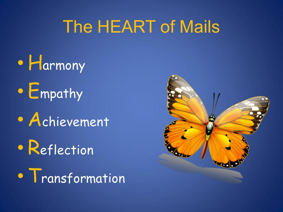 The HEART of Mails H armony E mpathy A chievement R eflection T ransformation