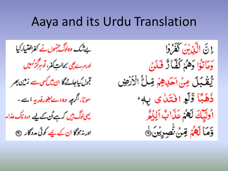 Aaya and its Urdu Translation