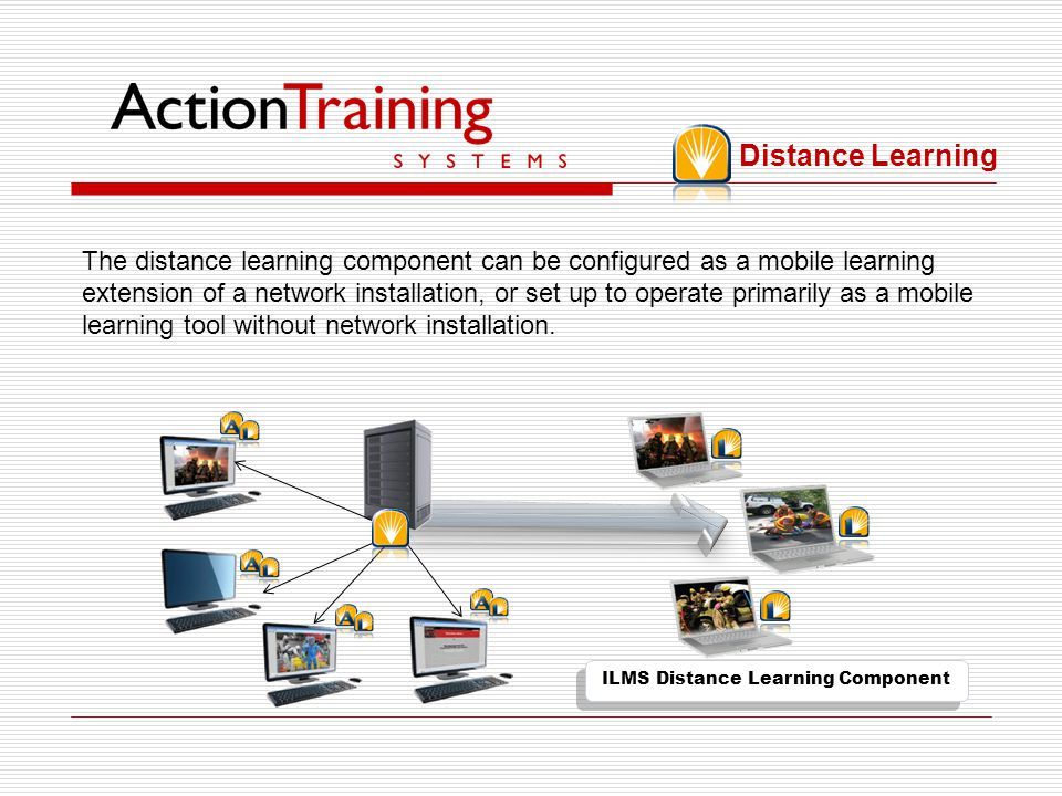 In a network installation courses are installed on a server. AdministrateIT (new in version 2) and LearnIT are floating licenses which can be accessed