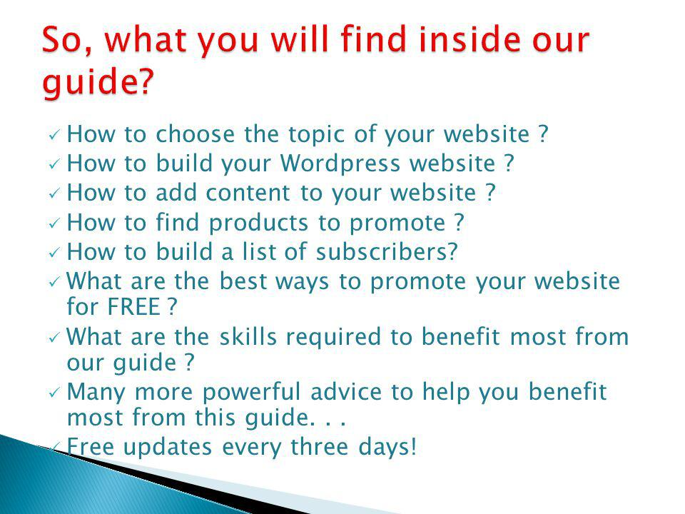 How to choose the topic of your website . How to build your Wordpress website .