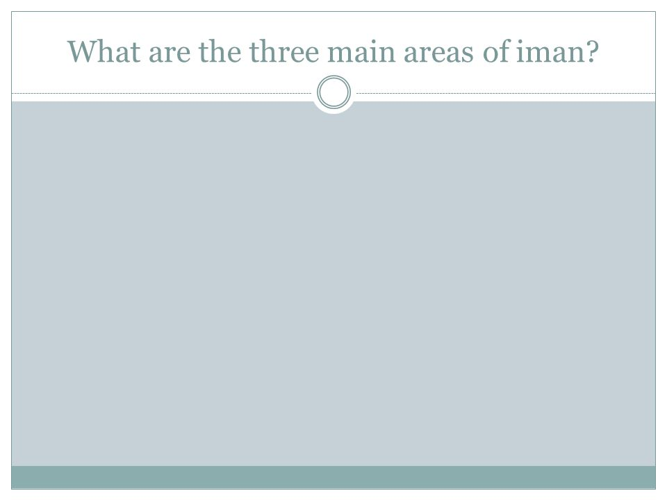 What are the three main areas of iman?