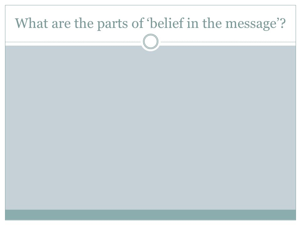 What are the parts of belief in the message?