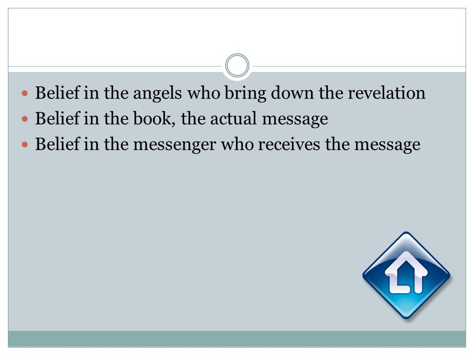 Belief in the angels who bring down the revelation Belief in the book, the actual message Belief in the messenger who receives the message