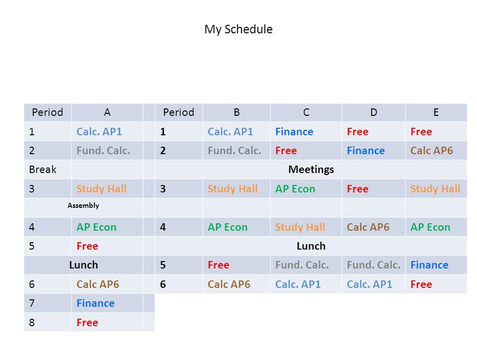 My Schedule My Schedule: M21M PeriodA BCDE 1Calc. AP11 FinanceFree 2Fund.