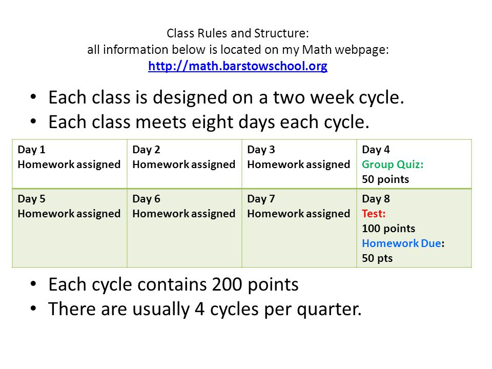 Class Rules and Structure: all information below is located on my Math webpage: http://math.barstowschool.org http://math.barstowschool.org Each class is designed on a two week cycle.