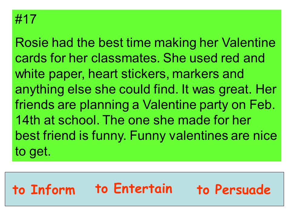 #17 Rosie had the best time making her Valentine cards for her classmates. She used red and white paper, heart stickers, markers and anything else she